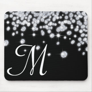 Diamond Jewels Jewelry Monogram Initial Mouse Pad