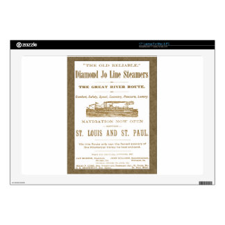 Diamond Joe Steamer Mississippi River Boat Ad 1897 Decal For Laptop