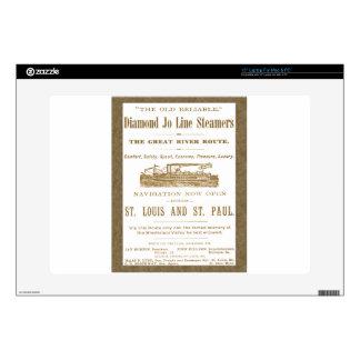 Diamond Joe Steamer Mississippi River Boat Ad 1897 Laptop Skins