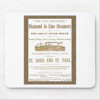Diamond Joe Steamer Mississippi River Boat Ad 1897 Mouse Pad