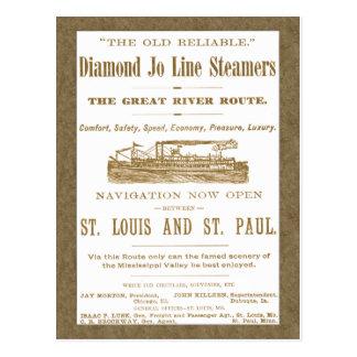 Diamond Joe Steamer Mississippi River Boat Ad 1897 Postcard