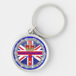 Diamond Jubilee Commemorative Souvenir Keyring Silver-Colored Round Keychain