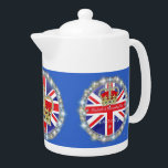 "Diamond jubilee Teapot<br><div class=""desc"">A Teapot with a round design of a Crown with diamonds and sparkle effect and text &quot; Elizabeth II Diamond Jubilee 1952-2012 framed with an image of a ring of Diamonds and sparkle effect around it ..on a background of a Union Jack and deep royal blue.</div>"