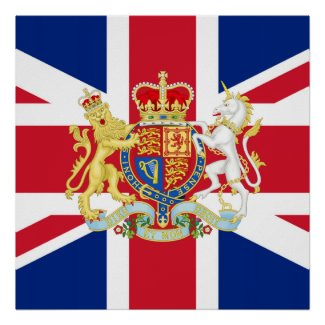 Diamond Jubilee Union Flag and Royal Crest print