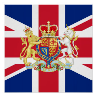 Diamond Jubilee Union Flag and Royal Crest Poster