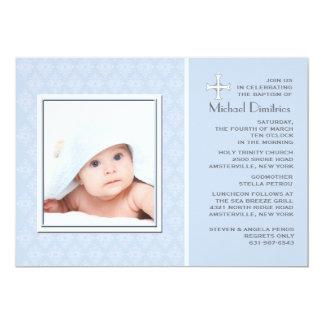 "Diamond Lace Blue Photo Invitation 5"" X 7"" Invitation Card"