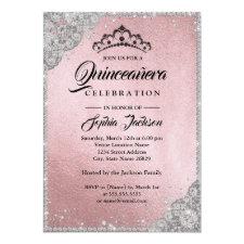 Diamond Lace Sparkle Pink Silver Quinceanera Invitation