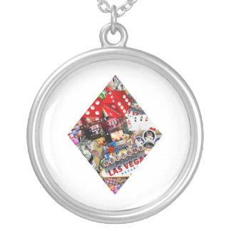 Diamond - Las Vegas Playing Card Shape Round Pendant Necklace