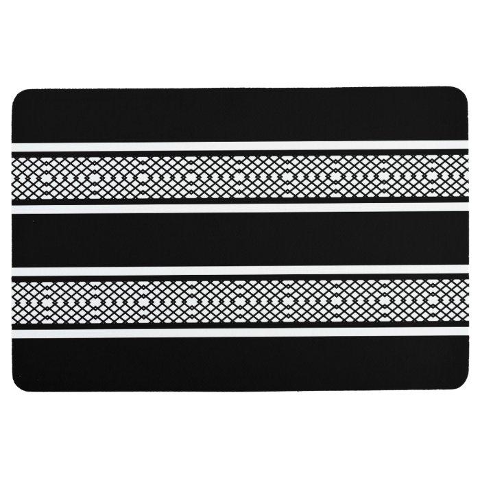Diamond Lattice Black And White Stripe Floor Mat Zazzle