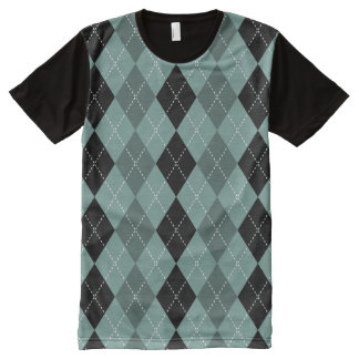 Diamond Light Blue With Dash Line Pattern All-Over Print T-shirt