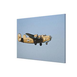 Diamond Lil B-24 Bomber, landing at Oshkosh, Canvas Print