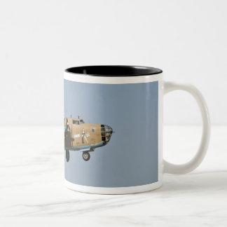 Diamond Lil B-24 Bomber, landing at Oshkosh, Two-Tone Coffee Mug