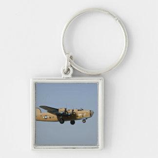 Diamond Lil B-24 Bomber, landing at Oshkosh, Silver-Colored Square Keychain