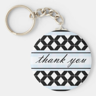 Diamond Lines Thank You Damask Baby Blue Basic Round Button Keychain