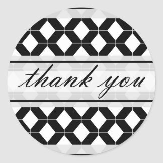 Diamond Lines Thank You Damask Black and White Classic Round Sticker