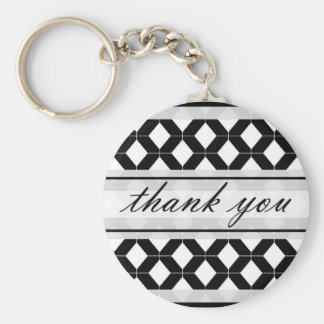Diamond Lines Thank You Damask Black and White Basic Round Button Keychain