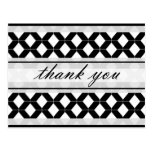 Diamond Lines Thank You Damask Black and White Postcard