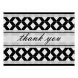 Diamond Lines Thank You Damask Black and White Print
