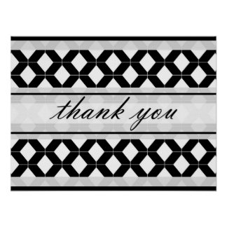 Diamond Lines Thank You Damask Black and White Poster