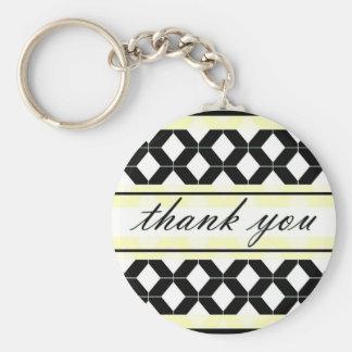 Diamond Lines Thank You Damask Bright Yellow Keychain