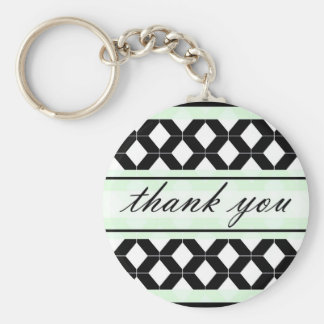 Diamond Lines Thank You Damask Mint Green Basic Round Button Keychain