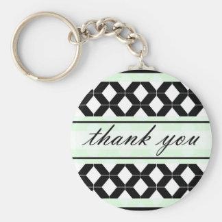 Diamond Lines Thank You Damask Mint Green Keychain