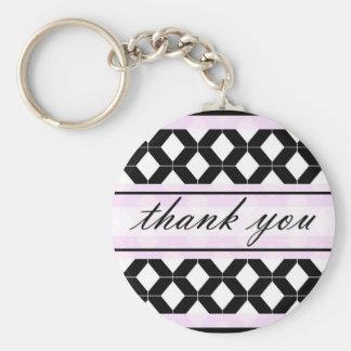Diamond Lines Thank You Damask Purple Pink Keychain