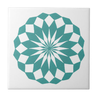 Diamond Mandala in Teal Turquoise Tile Trivet