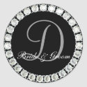 Diamond monogram D customizable seal sticker