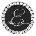 Diamond monogram E customizable seal sticker