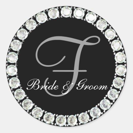 Diamond monogram F customizable seal Classic Round Sticker