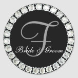 Diamond monogram F customizable seal Round Sticker