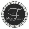 Diamond monogram F customizable seal sticker