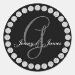 Diamond Monogram G Names Wedding Favor Labels Classic Round Sticker