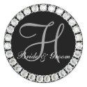 Diamond monogram H customizable seal sticker