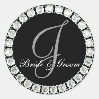 Diamond monogram J customizable seal