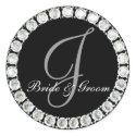 Diamond monogram J customizable seal sticker