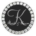 Diamond monogram K customizable seal sticker