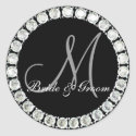 Diamond monogram M customizable seal sticker