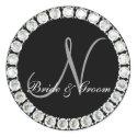 Diamond monogram N customizable seal sticker