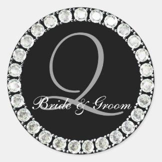 Diamond monogram Q customizable seal Classic Round Sticker