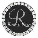Diamond monogram R customizable seal sticker