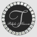 Diamond monogram T customizable seal sticker