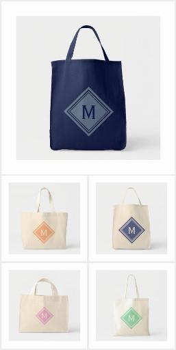 Diamond Monogram Tote Bags