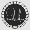 Diamond monogram U customizable seal sticker