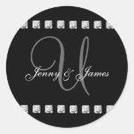 Diamond Monogram U Wedding Stickers Black