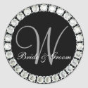 Diamond monogram W customizable seal sticker