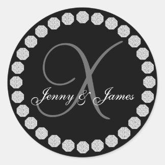Diamond Monogram X Names Wedding Favor Labels Stickers