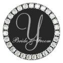 Diamond monogram Y customizable seal sticker