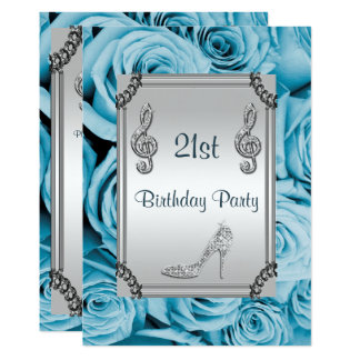 Diamond Music Note, Stiletto & Blue Roses 21st Card